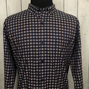 Johnston & Murphy XXL Brown & Blue Check Shirt